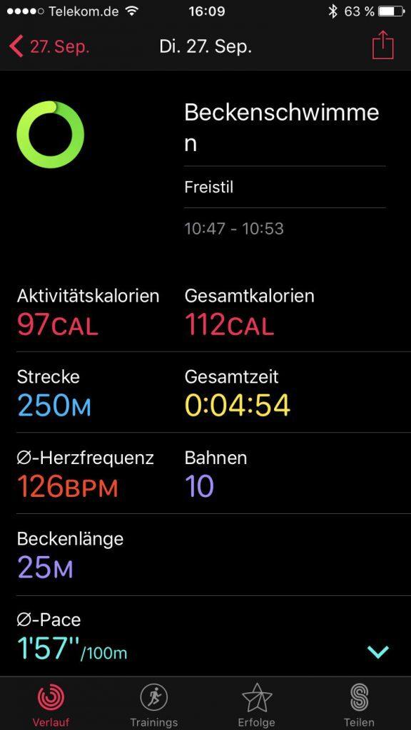 """Erfahrungsbericht zur Apple Watch Series 2: Schwimmen im Becken. Trainingsübersicht der iPhone App """"Aktivitäten"""""""