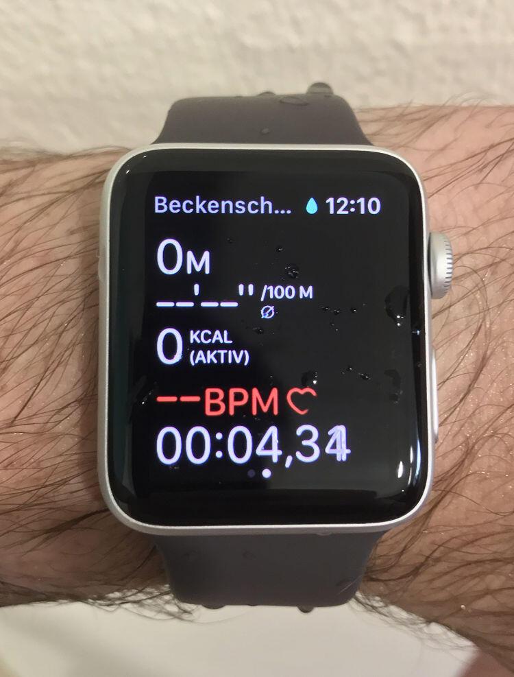 Erfahrungsbericht zur Apple Watch Series 2: Schwimmen im Becken. Trainingsanzeige zum Beckenschwimmen.