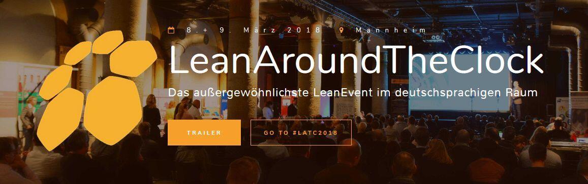 Banner der Startseite von LeanAroundTheClock Event in Mannheim, 2018. #LATC2018