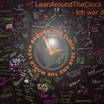 LeanAroundTheClock - Eine Wand wo jeder Teilnehmer seine Spuren hinterlassen kann.