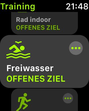 Freiwasserschwimmen - Trainingsmodus auf der Apple Watch wählen.